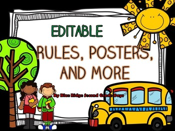 Editable School Themed Rules, Posters, & More