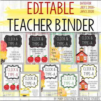 Teacher Planner 2017-2018 Editable Free Updates with Covers Inserts Backs Spines