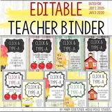 Teacher Planner 2018-2019 Editable Free Updates Binder Covers Spines & Forms