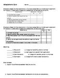 Editable Science Adaptations Quiz / Test / Assessment