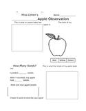 Editable Science Apple Observation Worksheet