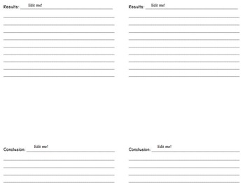 Editable Science Experiment Write-Up Template for Notebooks