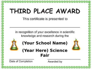 Editable Science Fair Certificates