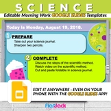 Editable Science Morning Work GOOGLE SLIDES Templates