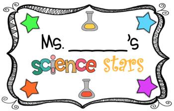 Editable Science Stars Bulletin Board Sign