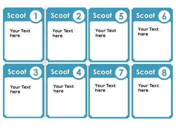Editable Scoot Game Cards