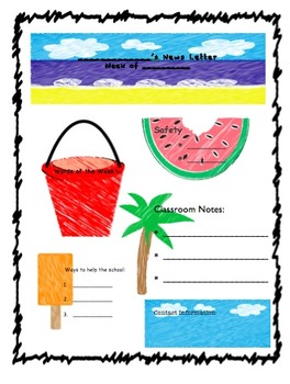 Classroom Newsletter Summer Scribble