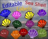 Editable Beach Sea Shell Ocean Labels