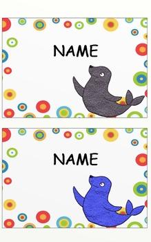 Editable Seal Themed Locker Name Plates