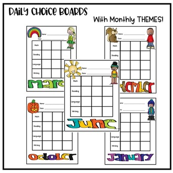 Editable Seasonal Choice Boards