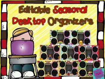 Editable Seasonal Desktop Organizers