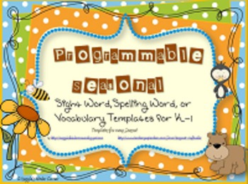 Editable Seasonal Word Templates for Sight Words, Spelling or Vocabulary K-2