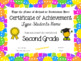 Editable Second Grade Certificates for End of Year - Bright Multicolor
