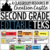 Editable Second Grade TEKS - Standards Statements with Vis