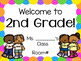 Editable Second Grade Welcome Signs Rainbow Borders