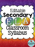 Editable Secondary ELA Class Syllabus