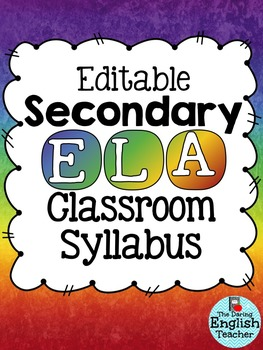 Editable Secondary ELA Class Syllabus