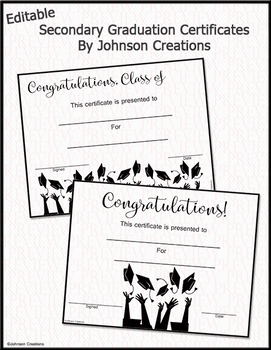 Editable Secondary Graduation Certificates
