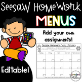 Editable Seesaw Homework Menu Templates