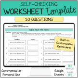 Editable Self Checking Worksheet Template 10 Questions Cus