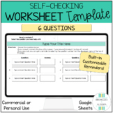 Editable Self Checking Worksheet Template 6 Questions Cust