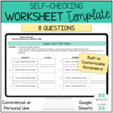 Editable Self Checking Worksheet Template 8 Questions Cust