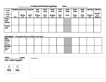 Editable Self-Monitoring Daily Incentive/Behavior Chart