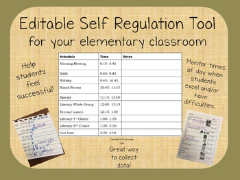 Editable Self Regulation & Behavior Management Tool