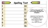 Editable Self-Scoring/Grading Digital Spelling Test Templa