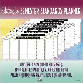 Editable Semester Standards Planner - FOUR background options!