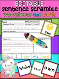 Editable Sentence Scramble Worksheets and Cards