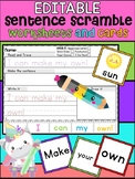 Editable Sentence Scramble Worksheets and Word Cards