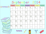 Editable September 2014 SmartBoard Calendar