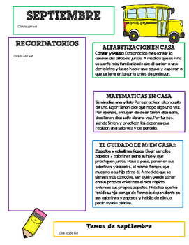 Editable September Newsletter Template for Preschool