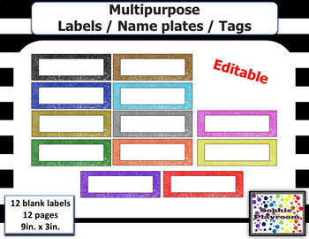 Editable Sequins Theme Multipurpose Labels - Tags - Cards