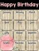 Editable Shabby Chic Birthday Chart