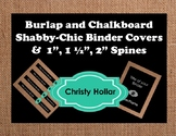 Editable Shabby Chic Burlap Chalkboard Binder Spine Labels Covers