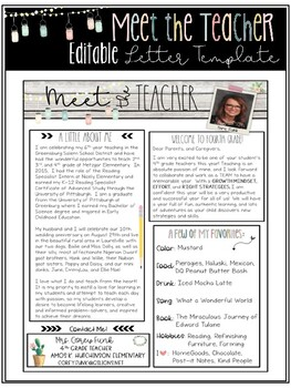 Editable Shabby Chic Meet the Teacher Letter Template