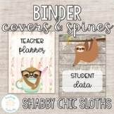 Editable Shabby Chic Sloth Binder Covers and Spines