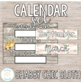 Editable Shabby Chic Sloth Print and Cursive Calendar Set