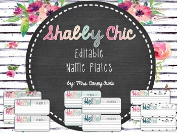 Editable Shabby Chic and Chevron Name Plates