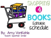 Editable Shopping 4 Books Schedule (Black and Neons)