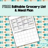FREE Editable Shopping List and Meal Plan