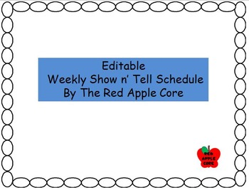 Editable Show n' Tell Schedule