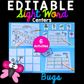 Editable Sight Word Activities - Bugs