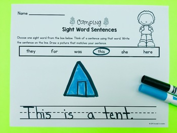 Editable Sight Word Activities- Camping