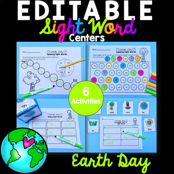 Editable Sight Word Activities - Earth Day