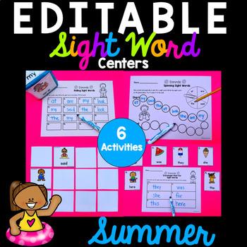Editable Sight Word Activities - Summer