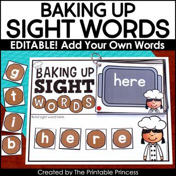 Editable Sight Word Activities   Baking Up Sight Words