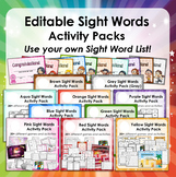 Editable Sight Word Activity Bundle - Use your own sight word lists!